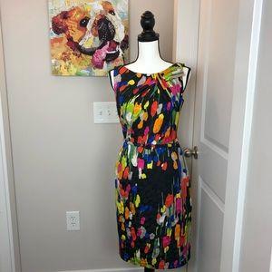 Q022 David Meister silk colorful dress 4